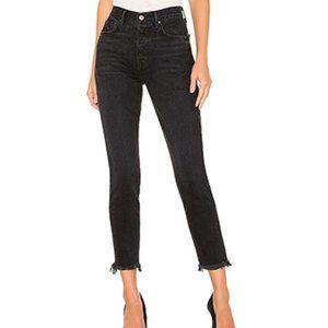 NWT Grlfrnd Karolina Raw Hem Black Denim Jeans 29